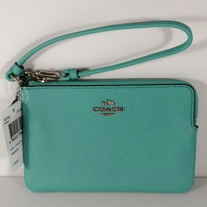 NWT Coach Teal Leather Wristlet